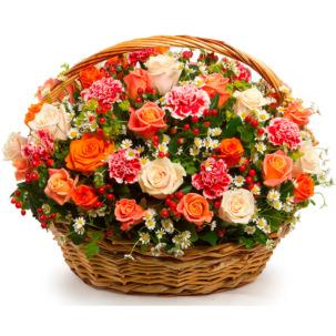 """Цветы в корзинке """"Гранатовый браслет"""""""